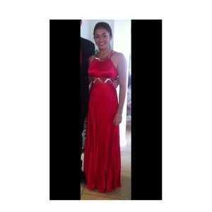 Halter Red Satin Prom Dress w/ Clear & Red beading